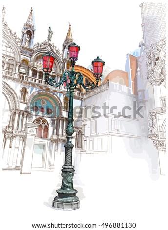 venice italy lantern on st