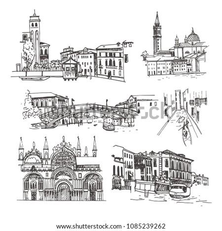 venice  italy vector sketch
