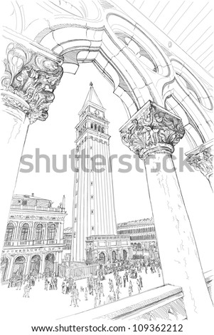 Venice Piazza San Marco and Kampanila View from the Doge's Palace Vector drawing