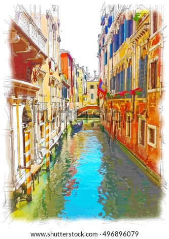 venice   water channel  old...