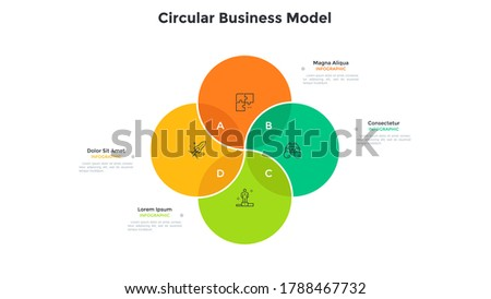 Venn chart with four intersected colorful translucent circular elements. Concept of 4 options of startup project. Modern infographic design template. Minimal flat vector illustration for report. ストックフォト ©