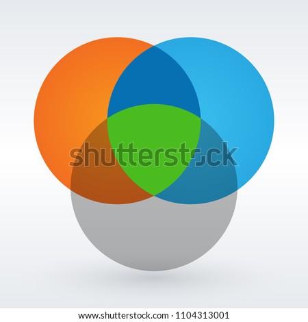 Venn diagram flat style color infographics template. vector illustration. ストックフォト ©