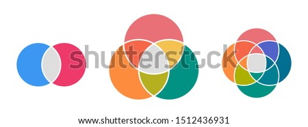 Venn diagram infographic template . Two , three and four circles .  ストックフォト ©