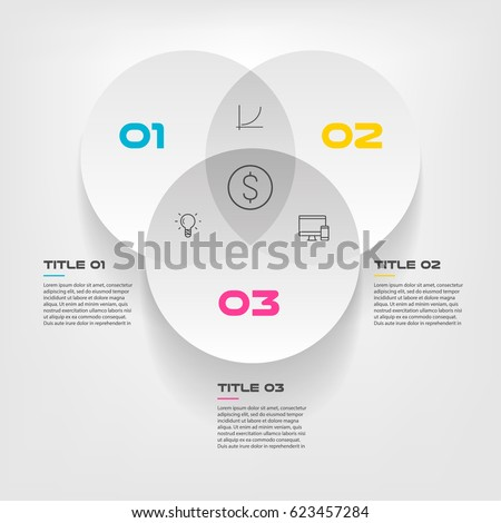 Venn diagram infographics for three circle design vector and marketing can be used for workflow layout, annual report, web design. Business concept with steps or processes ストックフォト ©