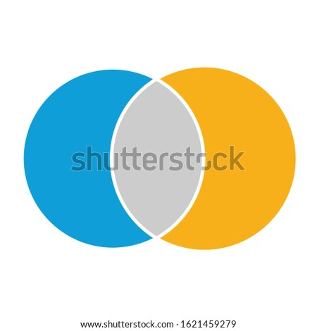 Venn diagram maths vector, Negative space, color modern icon - isolated on white background ストックフォト ©