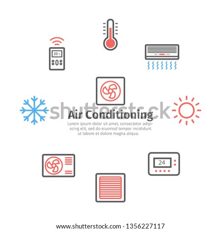 Ventilation and conditioning banner. Climate control icon set. Vector illustration.