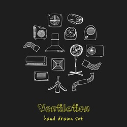 Ventilation hand drawn doodle set. Sketches. Vector illustration for design and packages product. Symbol collection.