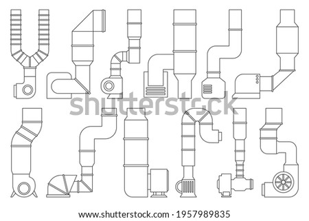 Ventilation pipe outline vector set icon. Isolated outline set icon ventilation pipe. Vector illustration air system on white background. stock photo