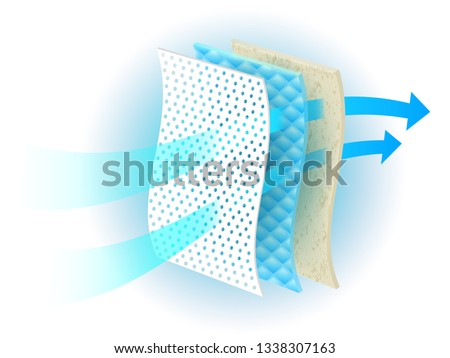 Ventilation system through many materials Use ads for diapers and adults, sanitary napkins, mattresses, pads to absorb. Vector realistic file.