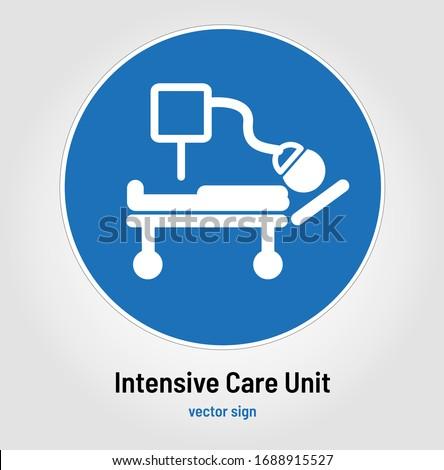 Ventilator or Intensive Care Unit Sign, Icon or Symbol. Intensive therapy unit or intensive treatment unit (ITU) or critical care unit (CCU) Concept. Stick figure with medical machine attached to face