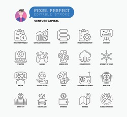 Venture capital thin line icons set. Investment project, capitalization increase, strategy, dividends, global expansion, high tech, cloud services. Pixel perfect, editable stroke. Vector illustration