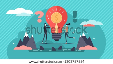 Venture capital vector illustration. Flat tiny investment persons concept. Risky business with huge profit potential. Startup and new idea funding. Innovation entrepreneur and project crowd funding.