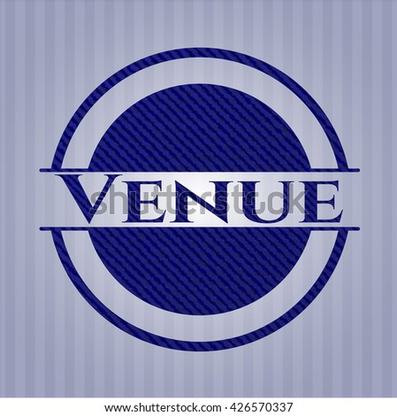 Venue badge with denim background