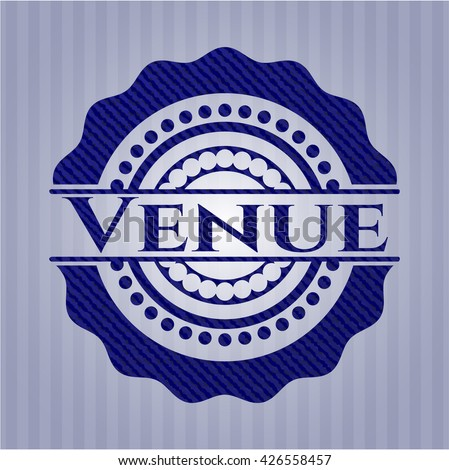 Venue emblem with denim texture