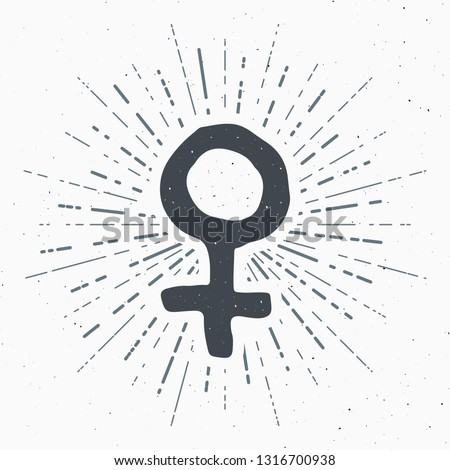 Venus vintage label, Hand drawn sketch, grunge textured retro badge, typography design t-shirt print, vector illustration. #1316700938