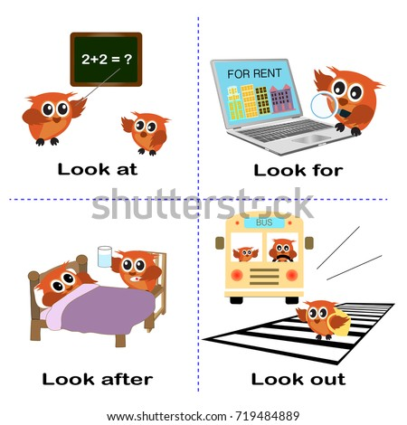 verb word background for preschool.look set (look at for after out).vector illustration.