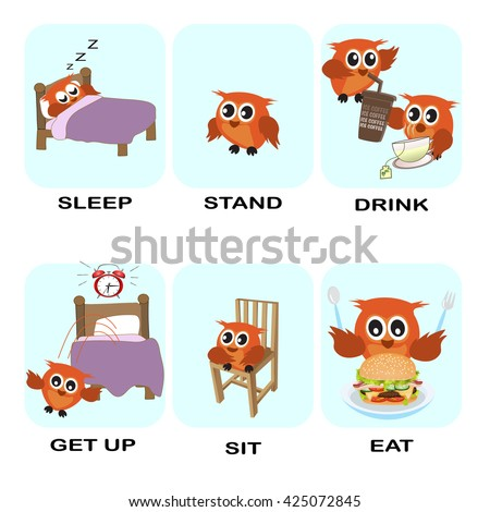 verb word vector background for preschool.verb set (sleep stand drink get up sit eat).vector illustration.