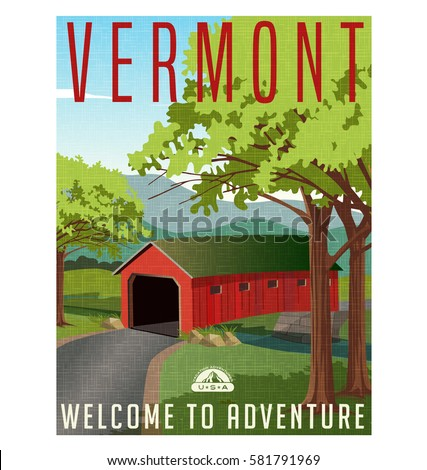 Vermont travel poster or sticker. Vector illustration of scenic covered bridge over stream.