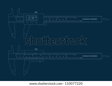 Vernier caliper digital and basic tools blueprint.