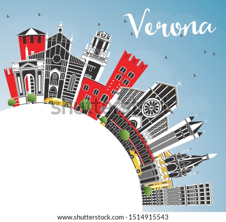 Verona Italy City Skyline with Color Buildings, Blue Sky and Copy Space. Vector Illustration. Business Travel and Tourism Concept with Historic Architecture. Verona Cityscape with Landmarks.