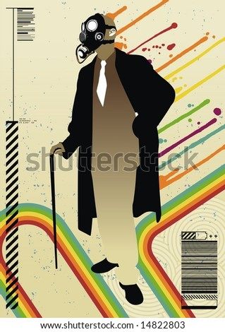 Versatile business design featuring a suited man wearing a gas mask.