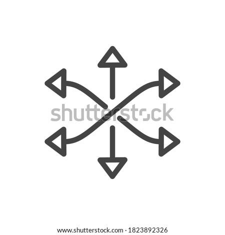 versatile icon, multipurpose capability, function cross, tilt skill, thin line web symbol on white background - vector illustration eps10 Stock photo ©