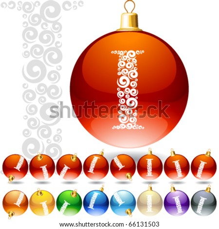 Versatile set of alphabet symbols on Christmas balls. Letter i - stock vector
