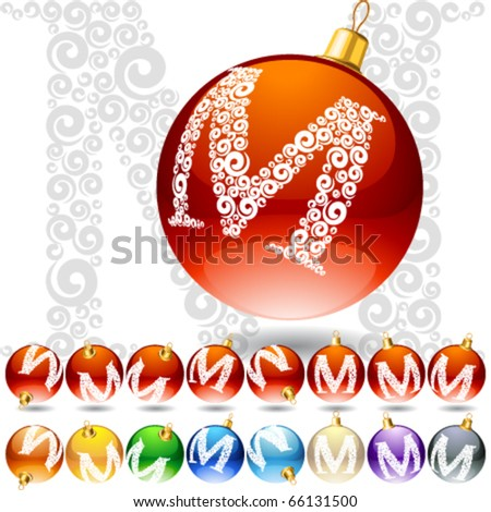 Versatile set of alphabet symbols on Christmas balls. Letter m