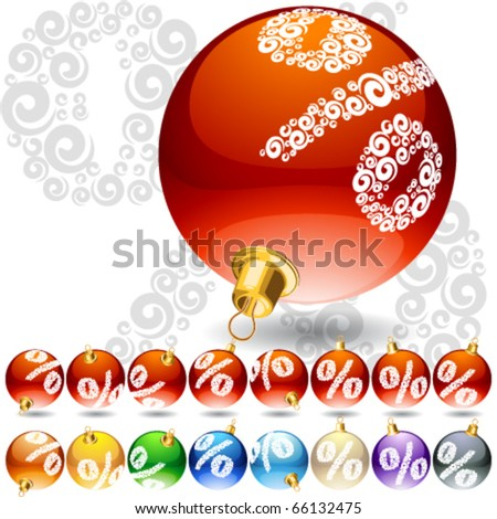 Versatile set of alphabet symbols on Christmas balls. Percent symbol
