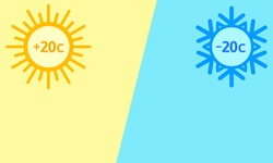 Versus background, screen. Summer vs winter, cold and heat. Yellow-blue background with sun and snowflake sign. Vector illustration, flat design, cartoon style.