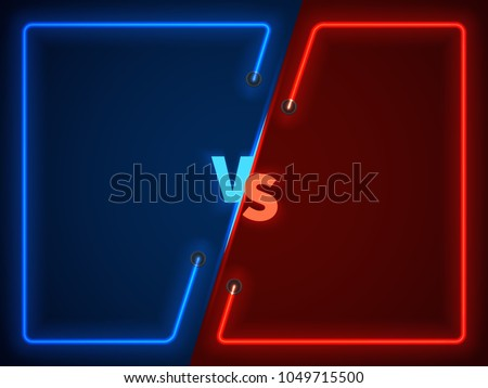 Versus battle, business confrontation screen with neon frames and vs logo vector illustration. Battle banner match, vs letters competition confrontation