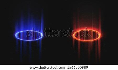 Versus blue and red round holograms with light rays and sparks. Glow neon magic portals on night scene. Digital futuristic teleport. Vector realistic template for vs game battle on black background