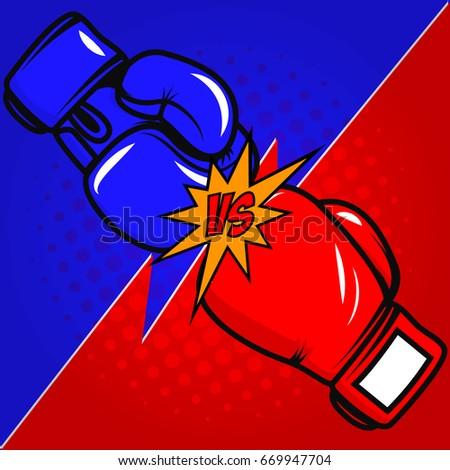 versus boxing gloves on pop art
