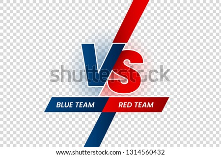 Versus duel headline. Battle red vs blue team frame, game match competition and teams confrontation. Vs challenge logo, team combat fight duel headline isolated vector illustration