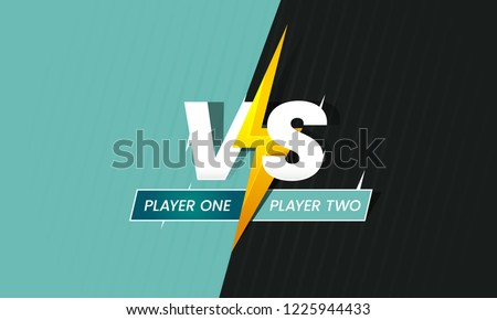 Versus frame. Vs duel battle, boxing confrontation screen and fight comparison background with fighting lightning. Sports match fighting confrontation challenge advertising logo vector concept