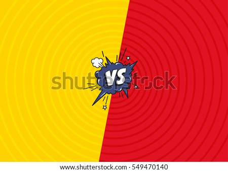 Versus letters fight  background. Decorative comic backdrop with speech bubble bomb explosive in pop art style.