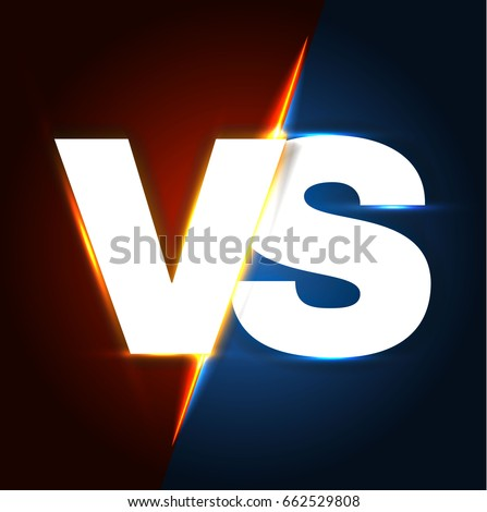 Versus Letters. Shining Competition Symbol. Logo and Badge. Fight and Match Element. Vector illustration