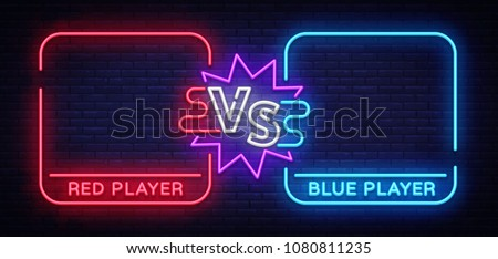 versus neon banner with square