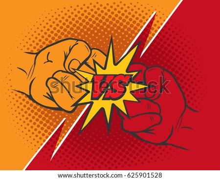 versus rivalry fist vector