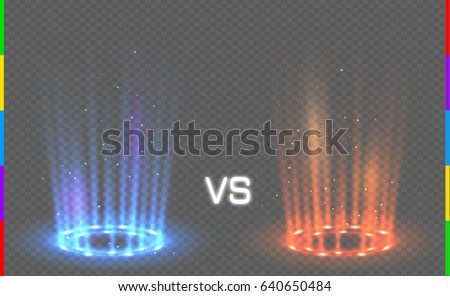 versus round blue and red glow