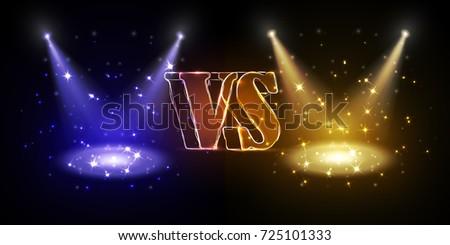 versus round blue and yellow