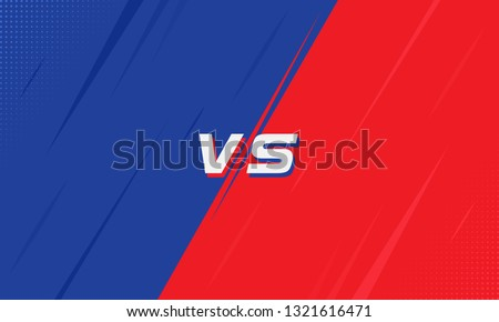 Versus Screen Blue and Red With Halftone. Vs Fight background for battle, competition and game. Vector Illustration Versus screen.