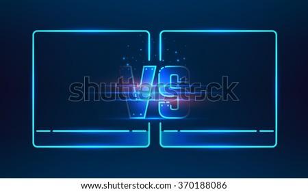 versus screen design blue neon