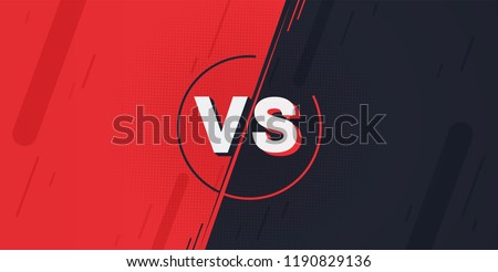 Versus screen. Fight backgrounds against each other, red vs dark blue. Сток-фото ©