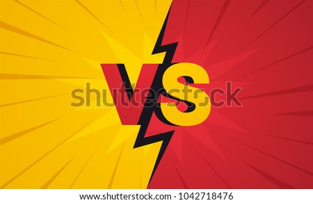 Versus screen. Fight backgrounds against each other, Yellow vs red.