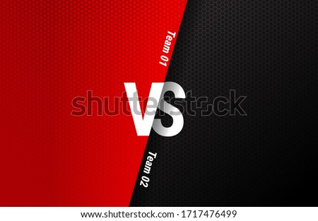 Versus screen. Vs battle headline, conflict duel between Red and Black teams. Confrontation fight competition. Boxing martial arts fighter match Foto stock ©