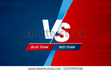 Versus screen. Vs battle headline, conflict duel between Red and Blue teams. Confrontation fight competition. Boxing martial arts mma fighter match vector background template