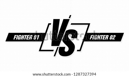 Versus screen. Vs battle headline, conflict duel between teams. Confrontation fight competition. Vector background template.