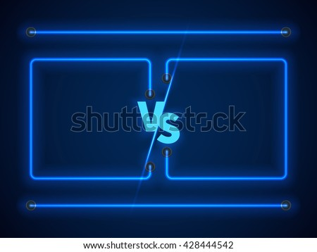 versus screen with blue neon
