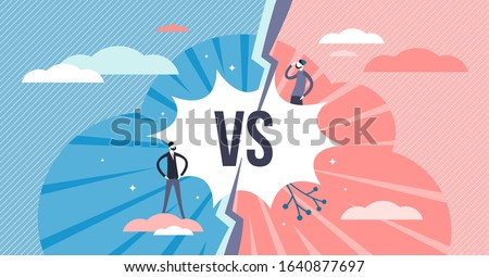 Versus split screen abstract concept, flat tiny persons vector illustration. Two competitors battle scene. Championship challenge and fight announcement. Competition between two persons or products.